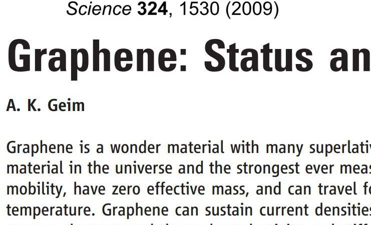 "Review article on graphene in ""Science""."