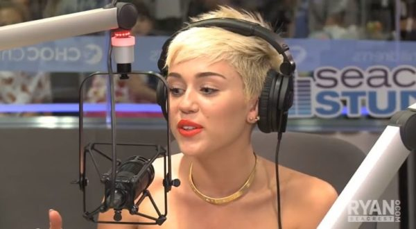 Miley Cyrus in the Ryan Seacrest OnAir studio in Los Angeles last year.  Photo courtesy RyanSeacrest.com/Youtube.