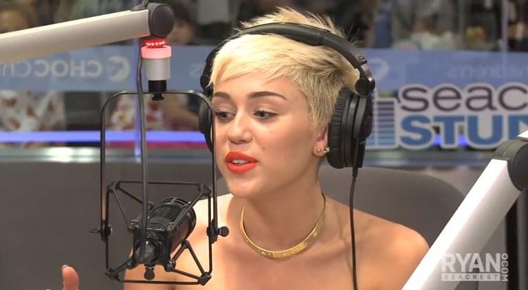 Miley Cyrus in the Ryan Seacrest OnAir studio in Los Angeles last year.  Photo courtesy RyanSeacrest.com/Youtube.