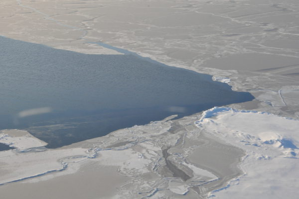 Arctic sea ice in Beaufort/Chuckchi Seas seen from NOAA's P3 flight in autumn 2014 credit NOAA PMEL