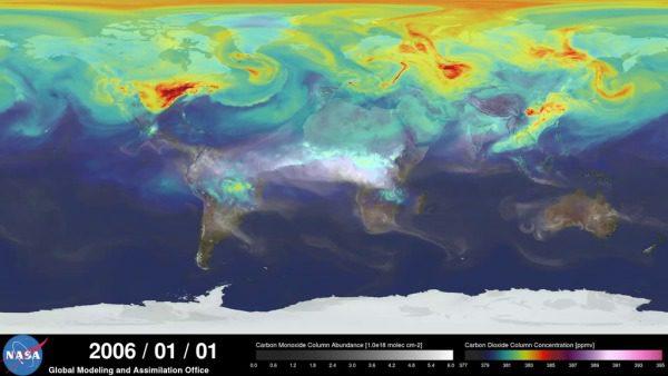 Map of atmospheric CO2 via NASA