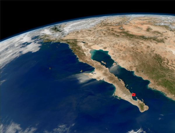 Photo of Baja California, Mexico | NASA's Earth Observatory Location of El Pardito shown in red, take a closer look