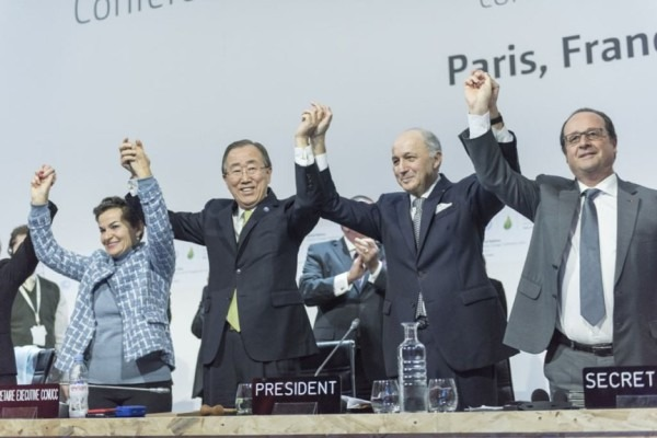 COP21 leaders celebrating their historic agreement in Paris  Photo by UN Photo | Flickr | CC BY-NC-ND 2.0
