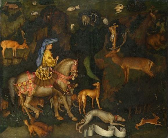 Antonio Pisano The Vision of Saint Eustace, c.1436-1438,Tempera on Wood, 65x53 cm, Public Domain