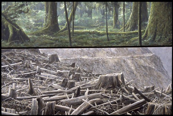 Robert Bateman Carmanah Contrasts | 1989, Acrylic on Canvas, 40x45  © Robert BatemanIncluded in Environmental Impact