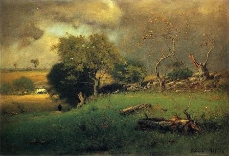 George Inness The Storm, 1885, Oil on Canvas, 20x30 in, The Reynolda House Museum of American Art, Public Domain