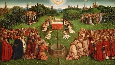 Jan Van Eyck Adoration of the Mystic Lamb (Central panel of The Ghent Altarpiece 11x15 ft), 1430-1432, Oil on Oak Panel, Public Domain