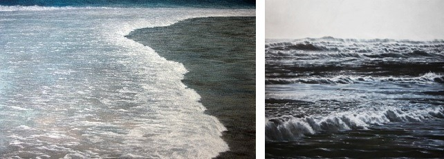 (LEFT) Incoming Surf – Maldives, 2015, Oil on Aluminum, 25x40, © Lisa Lebofsky (RIGHT) Incoming Surf – Montauk (Long Island, NY), 2015, Oil on Aluminum, 40x42, © Lisa Lebofsky