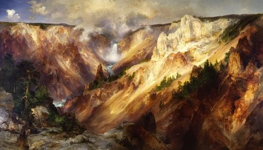 Thomas Moran The Grand Canyon of the Yellowstone, 1893-1901, Oil on Canvas, 96.5x163.4 in, Smithsonian American Art Museum, Public Domain