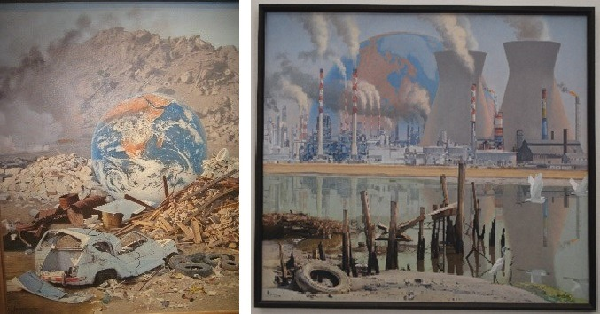 (LEFT) Save the Earth, 1989, Oil on Canvas, 47.75x37.75, by Walter W. Ferguson; (RIGHT) Apocalypse, 1992, Oil on Canvas, 43x51, by Walter W. Ferguson