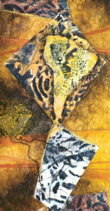Carol Santora Losing Ground (Jaguar) 2003, Acrylic, mixed paper collage on paper, 11.75 x 22.25 © Carol Santora | Currently on display in Environmental Impact Finally, Losing Ground is about the jaguar, a cat that was once found on US soil, but was hunted to extinction in the late 1940s. Deforestation and fragmentation of forest habitat isolates jaguar populations; humans compete with jaguars for prey and the overhunting forces jaguars to prey on domestic animals.  Jaguars are frequently shot on sight, despite protective legislation, and it fuels the vicious cycle of human-wildlife conflict.