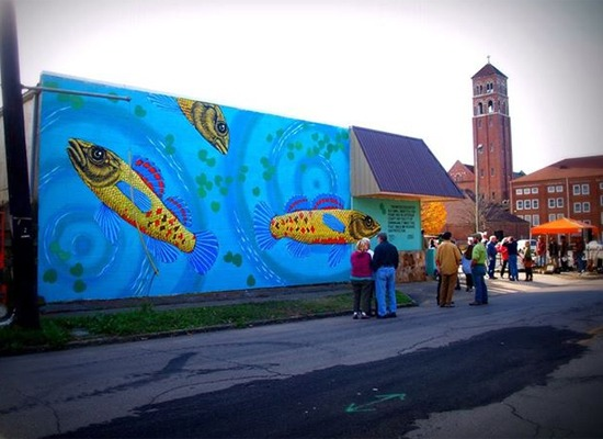Watercress darter mural in Birmingham, Ala., by Roger Peet and Birmingham artists Merrilee Challiss and Creighton Tynes.Photo by Kyle Crider. Center for Biological Diversity