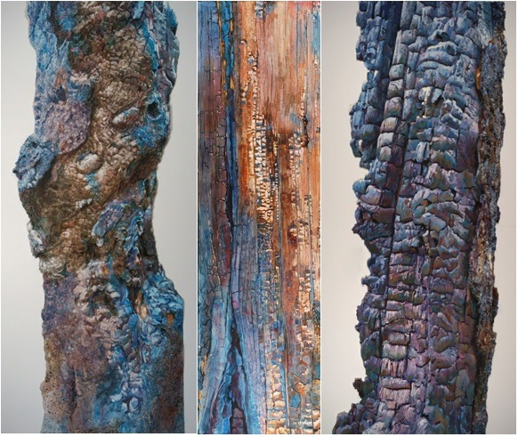 Suze Woolf [From left to right] Knotted (North Cascades National Park, Washington), Watercolor on Torn Paper 52x25; The Landscape of Fire(Kootenay National Park, British Columbia, Canada) 2012, Watercolor on Paper 57x20, Currently on display inEnvironmental Impact; Stehekin Sentinel (North Cascades National Park, Washington),Watercolor on Torn Paper 52x20 | © Suze Woolf