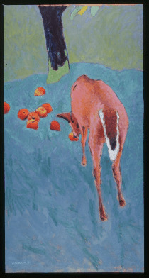 Expressionist: Ron Kingswood, Dusk with Deer, 1992, Oil & Charcoal, 70x24