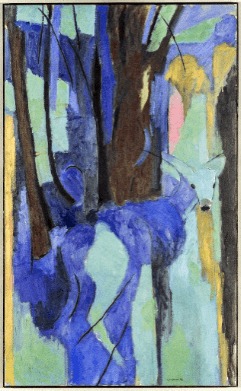 Fauvist: Ron Kingswood, Deer in Orchard, 1990, Oil on Canvas, 54x30