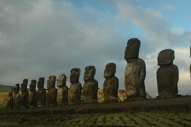 The Ahu Tongariki Moai, facing away from the Pacific, Easter Island (Rapa Nui), Chile © M. C. Tobias