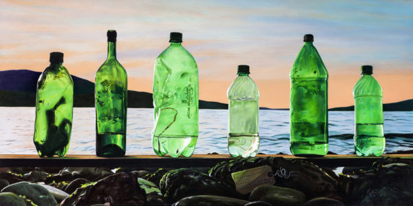 """Karen Hackenberg  Shades of Green: Amphorae ca. 2012, oil on canvas, 24"""" x 48"""", 2012 