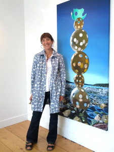 "Karen Hackenberg with Inukshuk, oil on canvas, 72""x36"", 2014"