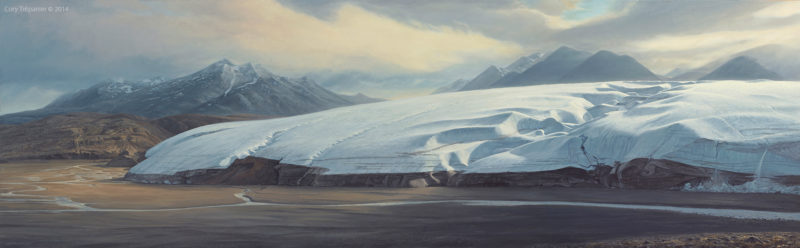 Cory Trépanier Glacierside, oil on linen, 96x36 inches, © Cory Trépanier. Quttinirpaaq National Park, Ellesmere Island, Nunavut, Canadian High Arctic. Henrietta Nesmith Glacier was named by American explorer Adolphus Greely in 1882 after his wife who pressed for a rescue mission that saved his life.