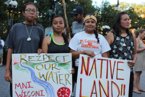 Native youth and supporters protest in New York against Dakota Access Pipeline by Joe Catron | Flickr | CC BY-NC 2.0New York, New York -Sioux youth from the Standing Rock Indian Reservation inNorth Dakota rallied with supporters in Union Square after running 2,000 milesacross the United States to protest the proposed Dakota Access Pipeline.