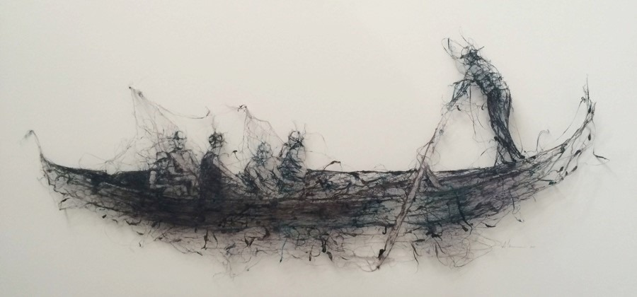 Mandy Coppes-Martin In Search of a Narrative, Paper Thread, and raw dyed silk. 63.5-x 125 cm