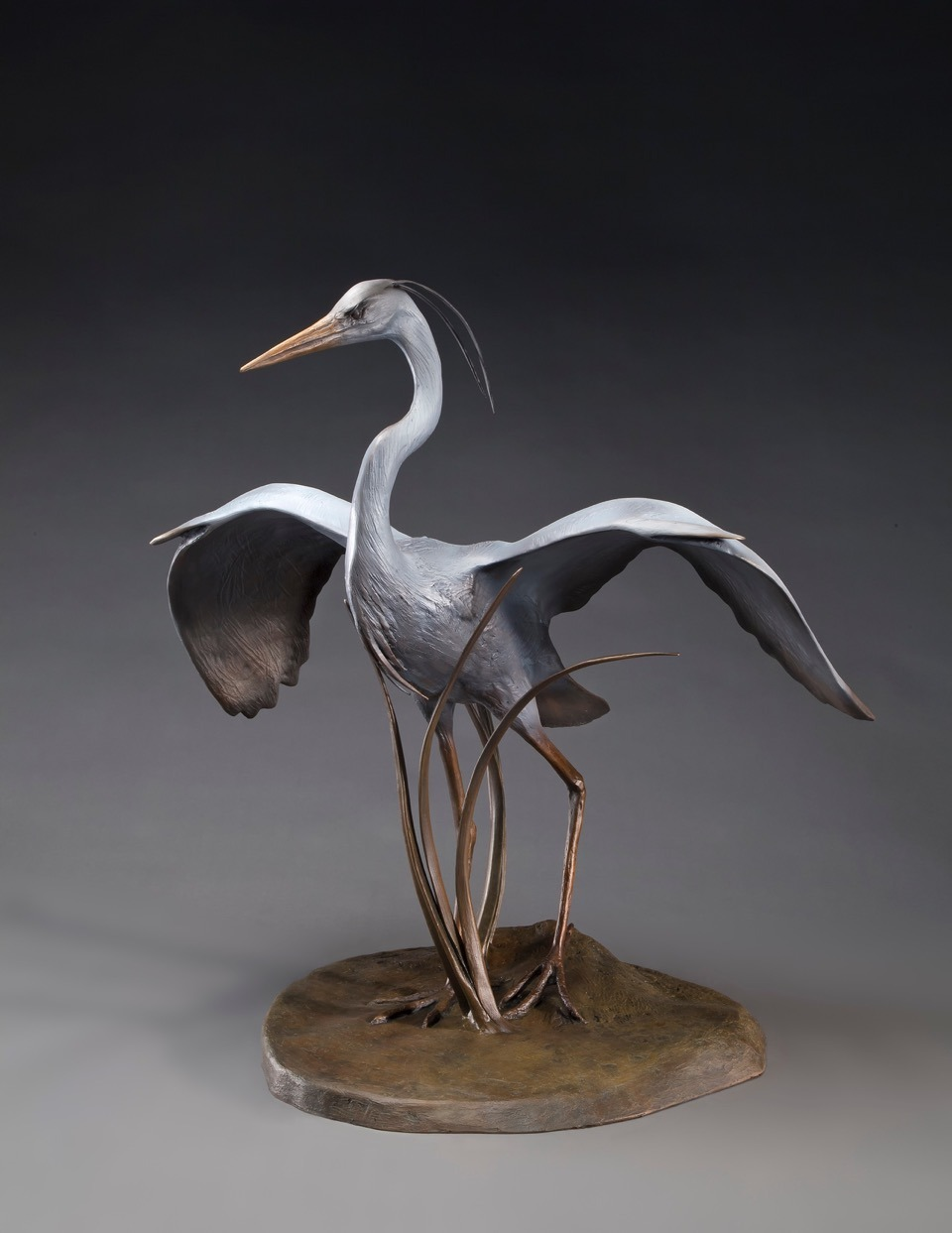 Cathy Ferrell Great Blue Heron, 2016, Bronze, edition of 12, 36x36x28 inches, © Cathy Ferrell. Found everywhere on the lagoon, the heron finds a wide variety of food choices.