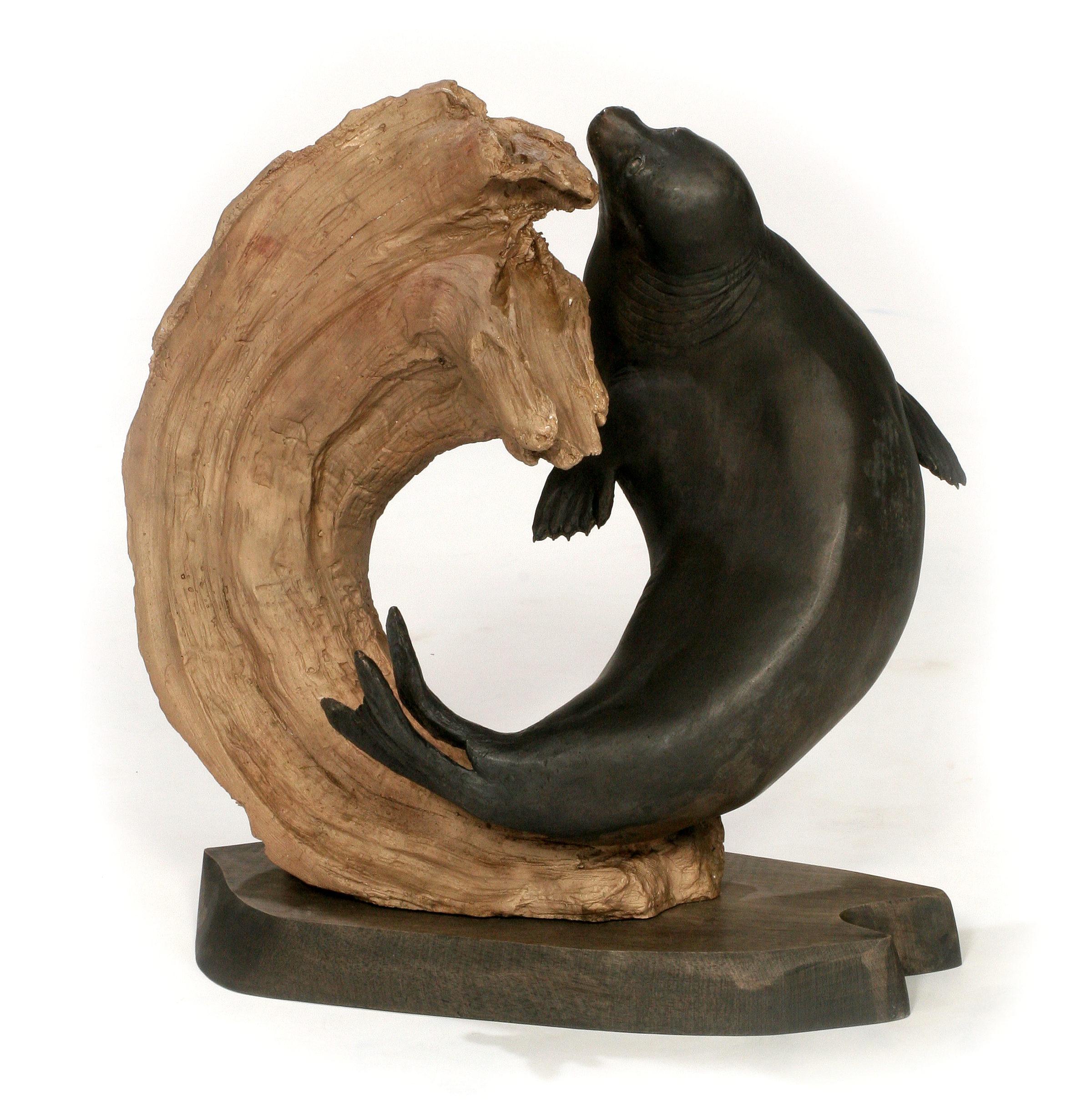 Terry Woodall Baikal Curl (2013) Baikal Seal, Bronze, 18x16x13 inches, © Terry Woodall