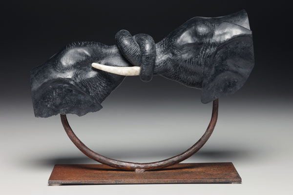 Dale Weiler Love Knot: Mother and infant African elephant, 24x16x15 inchesVirginia steatite on steel, © Dale Weiler