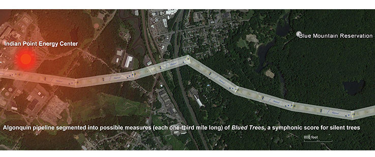 The Algonquin (AIM) pipeline that was the subject of the Blued Trees Symphony Overture was conceptualized as iterated measures of the score from the Blue Mountain Reservation to the infrastructure for the Indian Point nuclear facility, indicated in red to the left of the image, within 105' of the pipeline. Photographer: Aviva Rahmani