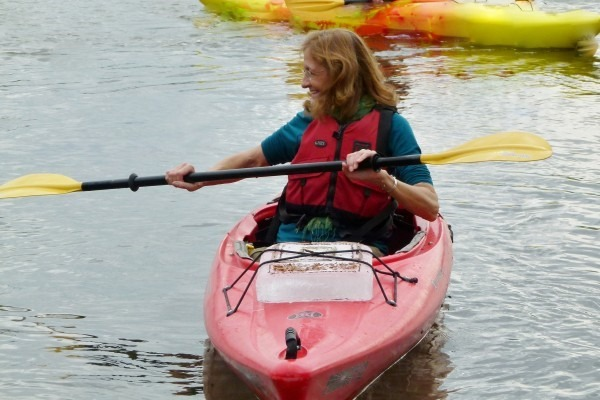 Book launch from kayak into Great Miami River, with help from the River Stewards Institute, Dayton, Ohio.