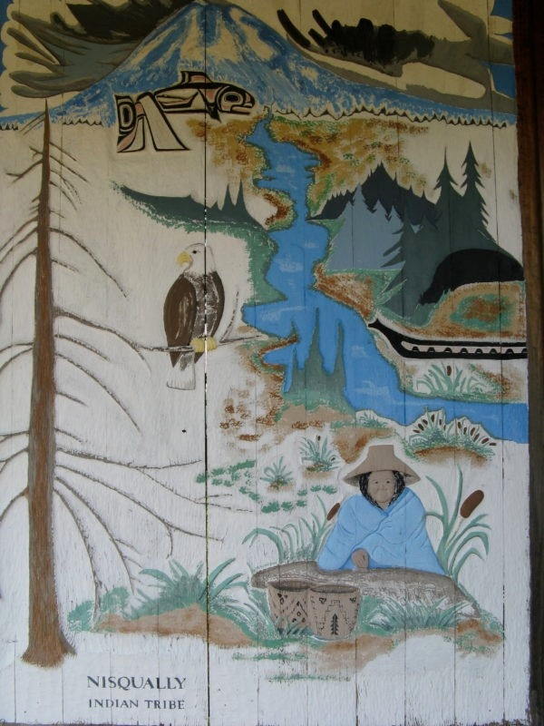 Tribal sign depicting Mt. Rainier and the river, photo by Basia Irland
