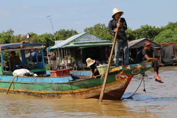 The floating villages of Tonle Sap Lake. (Photo by Basia Irland and Derek Irland.)