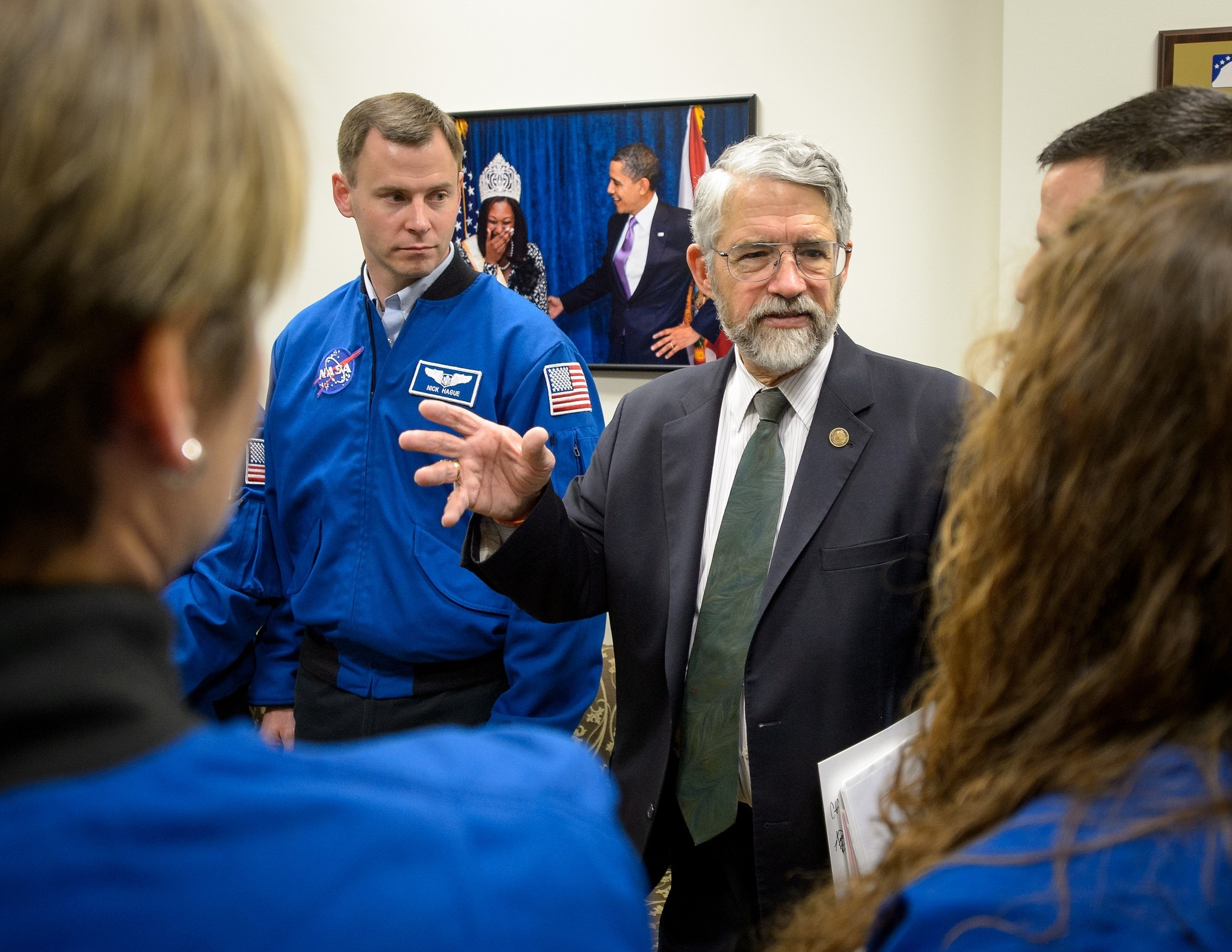 Dr. John P. Holdren talks with NASA's 2013 astronaut candidates at the annual White House State of Science, Technology, Engineering, and Math (SoSTEM) address, 2014.Photo Credit: (NASA/Bill Ingalls) | Flickr | CC BY-NC-ND 2.0