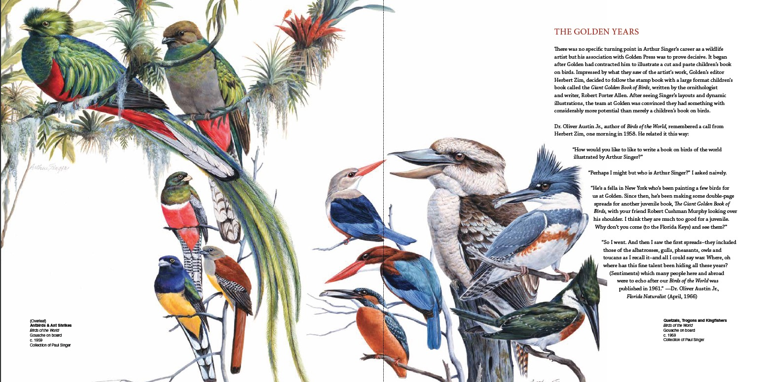Arthur Singer, Birds of the World, Gouache on board, c. 1959, Collection of Paul Singer (Left) Antbirds & Ant Shrikes; (Right) Quetzals, Trogons and Kingfishers