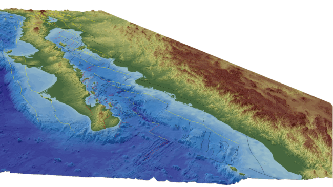 An oblique-view of the topography and bathymetry of the Gulf of California, showing the fault lines used to reconstruct the tectonic history of the region. Courtesy of Scott Bennett