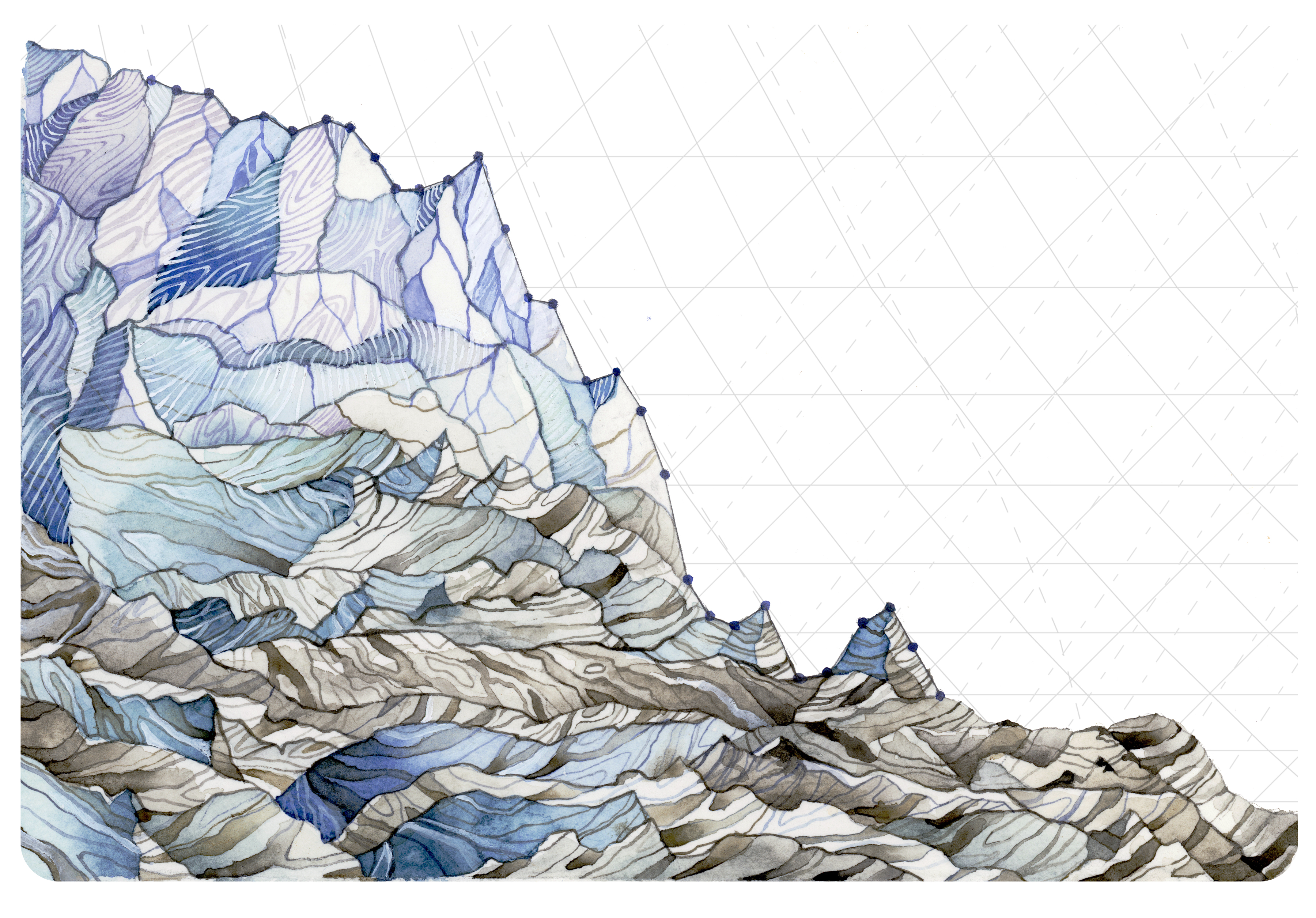 Jill Pelto | Decline in Glacier Mass Index. This piece uses measurements from 1980-2014 of the average mass balance for a group of North Cascade, WA glaciers.[2] Mass balance is the annual budget for the glaciers: total snow accumulation minus total snow ablation. Not only are mass balances consistently negative, they are also continually decreasing.