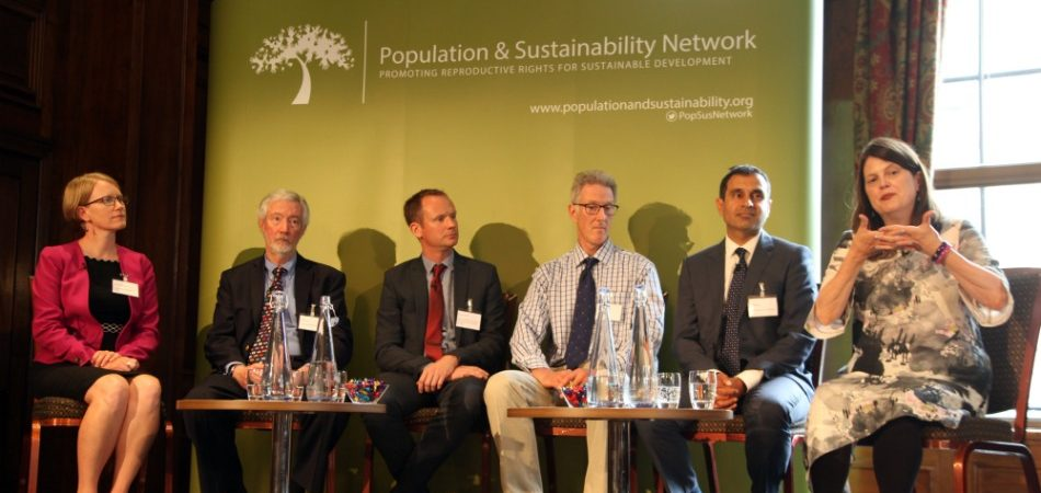 Participants from left to right: Kristen Patterson (Population Reference Bureau), Bill Ryerson (Population Media Center), David Johnson (Margaret Pyke Trust, with the Population & Sustainability Network), Henry Pomeroy (CHASE Africa), Vik Mohan (Blue Ventures Conservation), and Lois Quam (Pathfinder International)