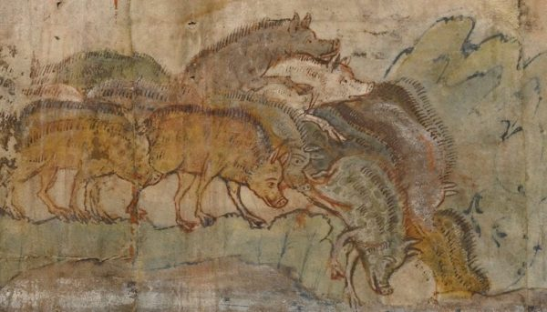 Gadarene Swine depicted in an illustration currently on display at the Getty Center | Public Domain