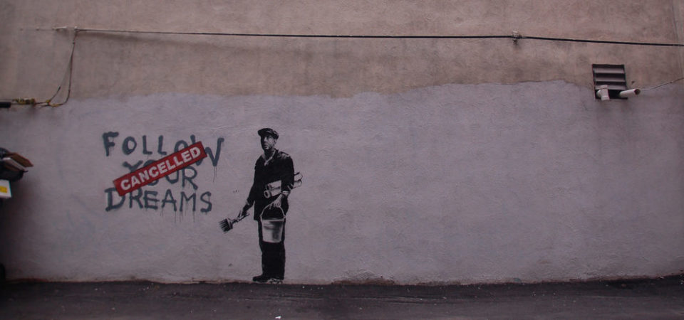 Banksy in Boston: Portrait from the F̶O̶L̶L̶O̶W̶ ̶Y̶O̶U̶R̶ ̶D̶R̶E̶A̶M̶S̶ CANCELLED piece by Chris Devers | Flickr | CC BY-NC-ND 2.0