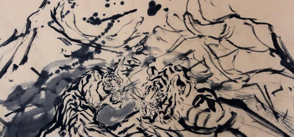 A Political Handshake by Anita Yan WongSumi ink on rice paper, 27.5 x 54 inches   © Anita Yan Wong