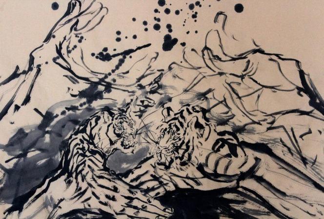 <em>A Political Handshake </em>by Anita Yan Wong</br>Sumi ink on rice paper, 27.5 x 54 inches | © Anita Yan Wong