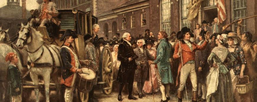 Image: Washington's second inauguration at Philadelphia, by Jean Leon Gerome Ferris (1863-1930) 