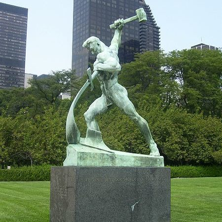 Statue in front of New York UN