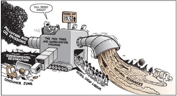 Cartoon of resource depleation