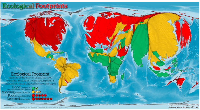 Ecological Footprint highlighting the disproportional impacts from resource consumption by already populous, high-income nations. Source: Views of the World