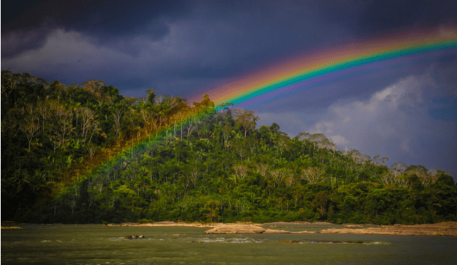 Rainbow over the Tapajós River in the Amazon