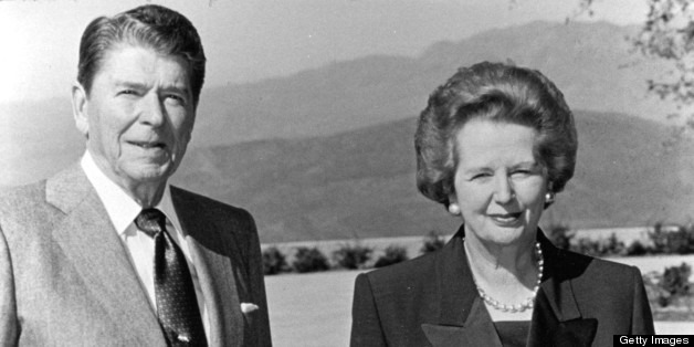 Ronald Reagan and Margaret Thatcher during Ronald Reagan Visits The Ronald Reagan Presidential Library at Ronald Reagan Presidential Library in Simi Valley, CA, United States. (Photo by Ron Galella/WireImage)