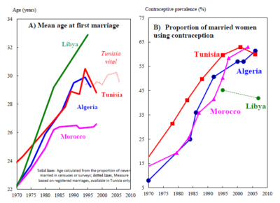 Trends in age at first marriage and contraceptive prevalence in the Maghreb Source: Zahia and Vallin, 20137