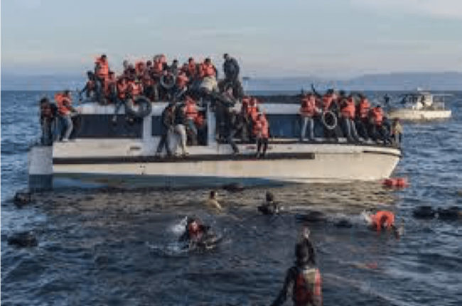 Figure 3 Migrants in Mediterranean scrambling to reach land