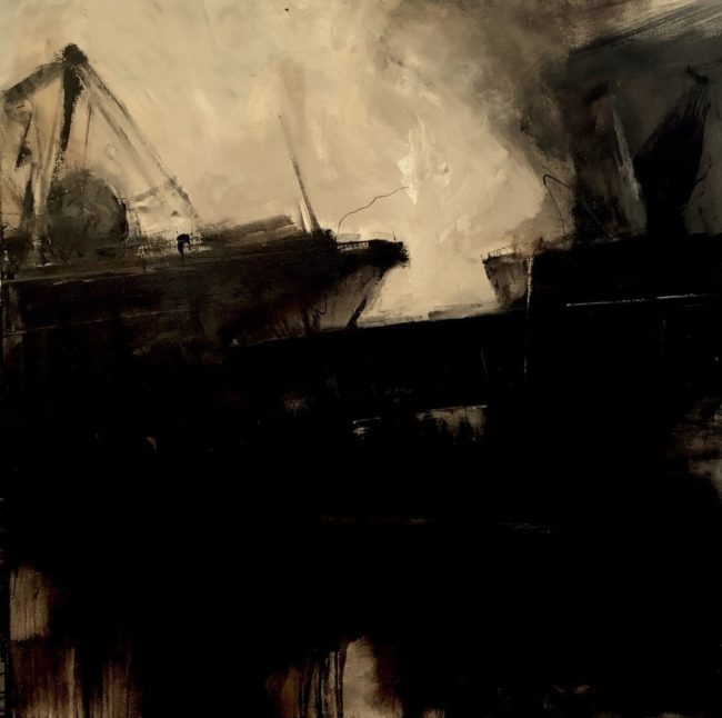 Painting Event Horizon 2016 (section), Oil and Tar on Canvas - Christopher Volpe